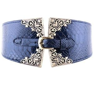 Navy Blue Wide Corset Belt w Filgaree & Buckle
